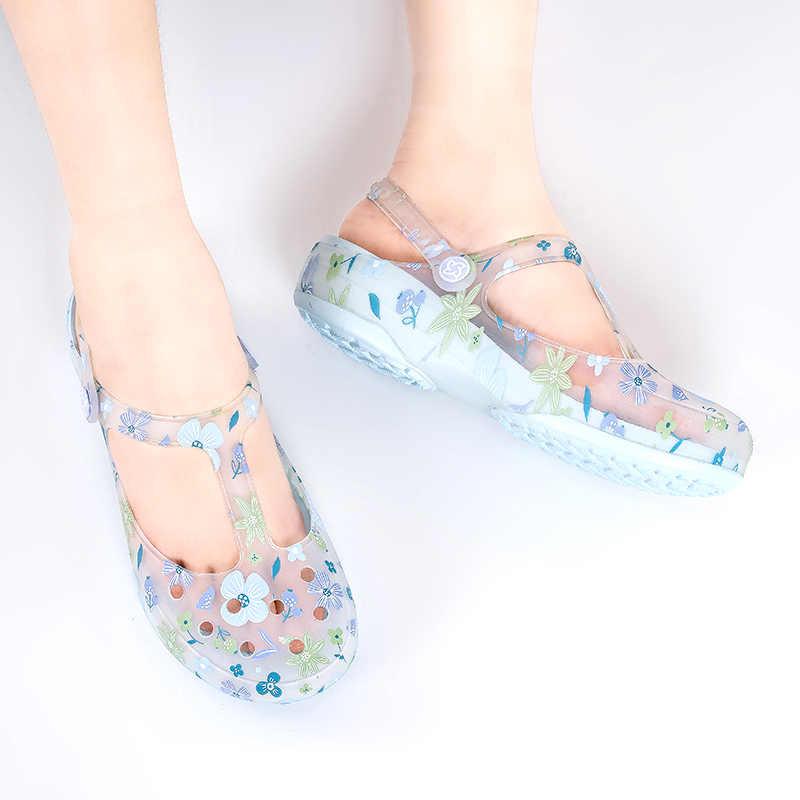 Сандалии женские прозрачные, пляжная обувь на платформе, санитарные, для медсестер, танкетка, желе, клоги, лето otali.ru