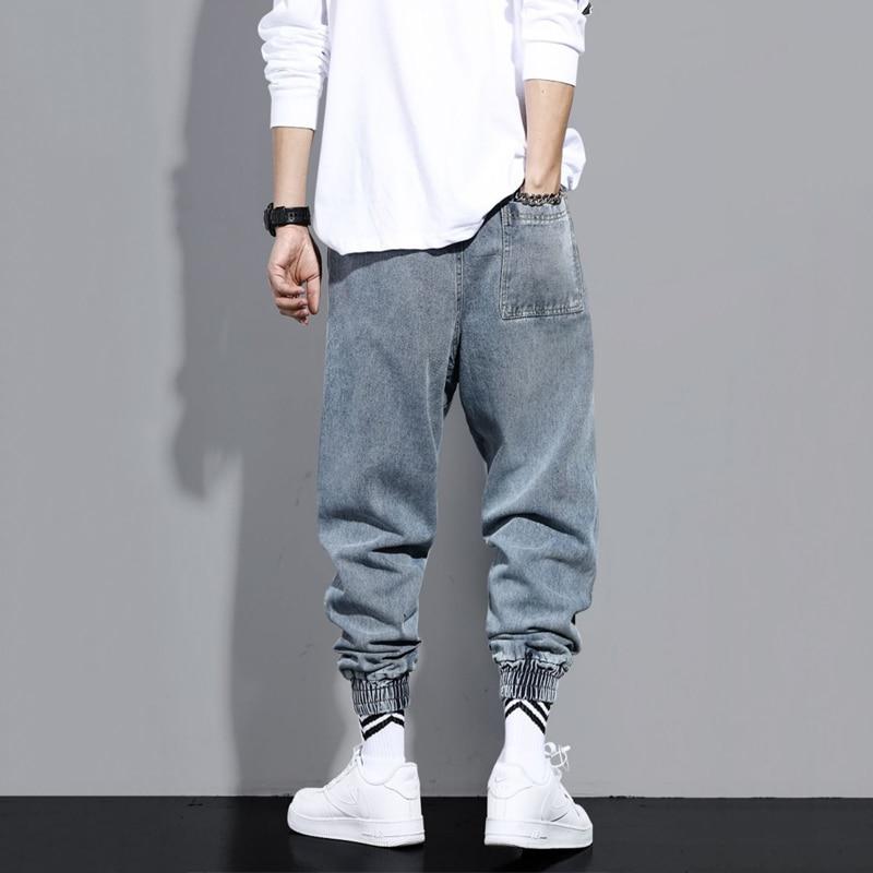 Men Fashion High Street Jeans Casual Harem Pants Letter Print Light Blue Sweatpants Trousers Drawstring Homens Jeans Denim Pants