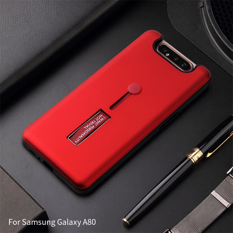Luxury For Samsung Galaxy A80 Case Two In One Internal Soft External Hard Push-pull Ring Bracket Cover For Samsung A80 Coque