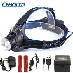 LED headlamp headlight 6000 lumen T6 L2 V6 3 mode Zoomable lamp Waterproof Head flashlight Torch Head lamp 18650 battery fishing