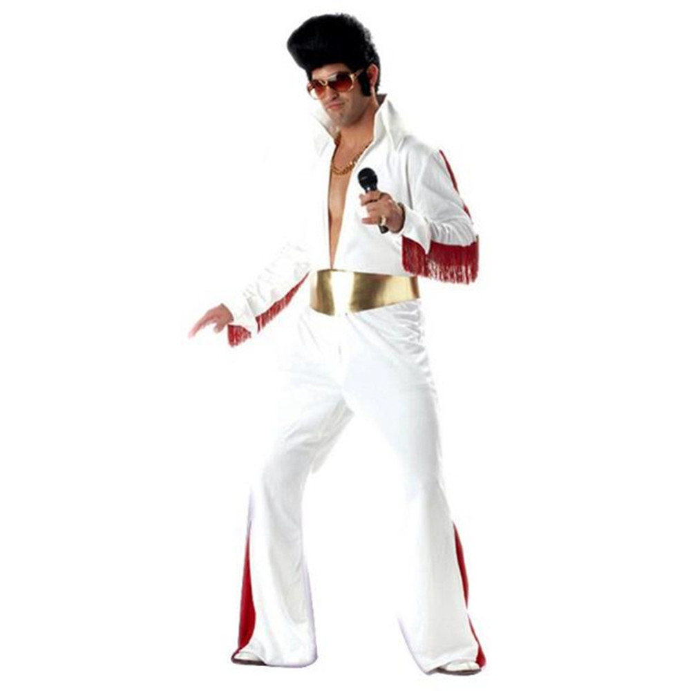 Classic Elvis Costumes Super Star Celebrity Party Costume Halloween Cosplay Ball Vintage ROCK Clothes Adult Jumpsuit+Belt