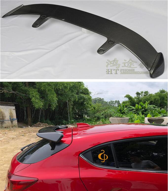 High Qualit CARBON FIBER & ABS REAR WING TRUNK LIP <font><b>SPOILER</b></font> FOR <font><b>MAZDA</b></font> <font><b>3</b></font> M3 Axela Hatchback 2014 2015 2016 2017 <font><b>2018</b></font> 2019 EMS image