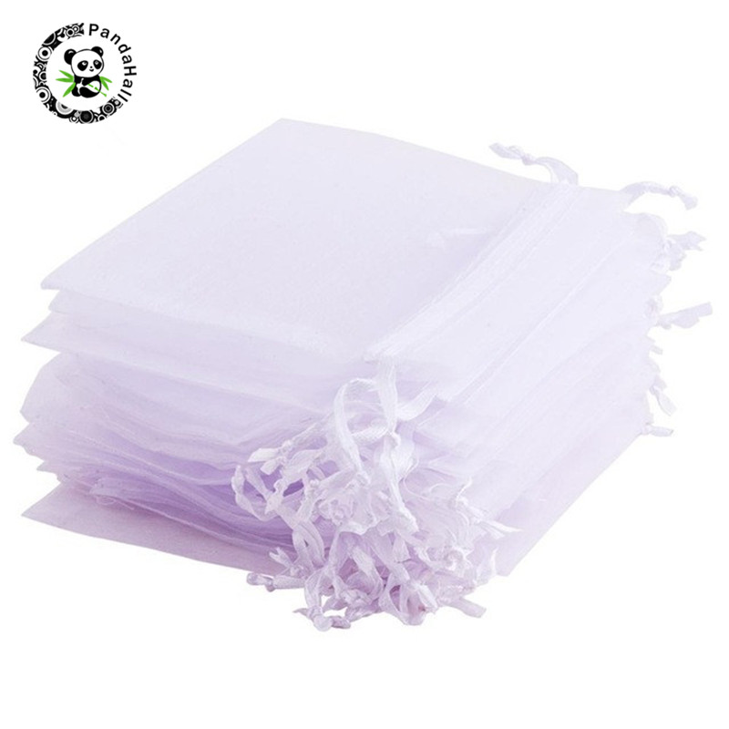 Pandahall 100/200 Pcs Rectangle Organza Gift Bags For Jewelry Storage Packaging With Drawstring Rectangle White 10x8cm/12x10cm