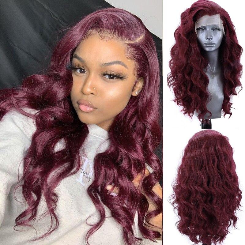 Peruca sintética do laço da parte dianteira do cabelo para a linha fina natural perucas vermelhas pretas da parte lateral do carisma peruca ondulada longa resistente ao calor