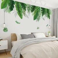 Pegatinas de pared de plantas tropicales y hojas de plátano para sala de estar, dormitorio, vinilo ecológico, calcomanías de pared, póster de arte, decoración del hogar