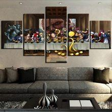 5 peça última ceia anime united casa decoração poster clássico pintura da parede lona impressão em tela pintura com quadro
