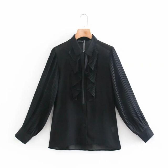 Spring Women Cascading Ruffle Black Chiffon Shirt Female Long Sleeve Blouse Office Lady Loose Tops Blusas S8638 1