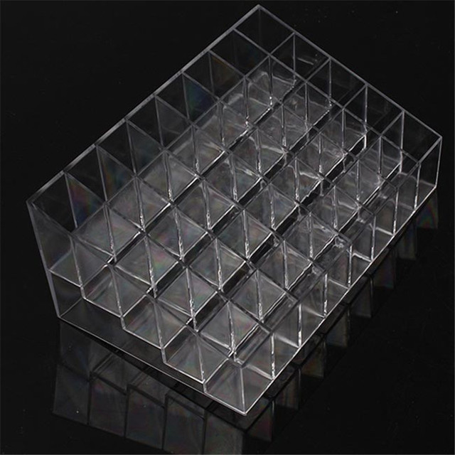 40 Lattice Trapezoid Plastic Transparent Makeup Display Rack Lipstick Stand Rack Cosmetic Organizer Holder Box High Quality 3