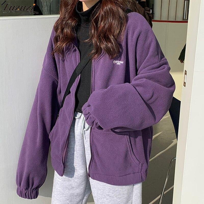 Застежка-молния женские зимние высококачественные модные Harajuku стиль длинные рукава флис большой Круглый воротник с капюшоном свитер с кап...