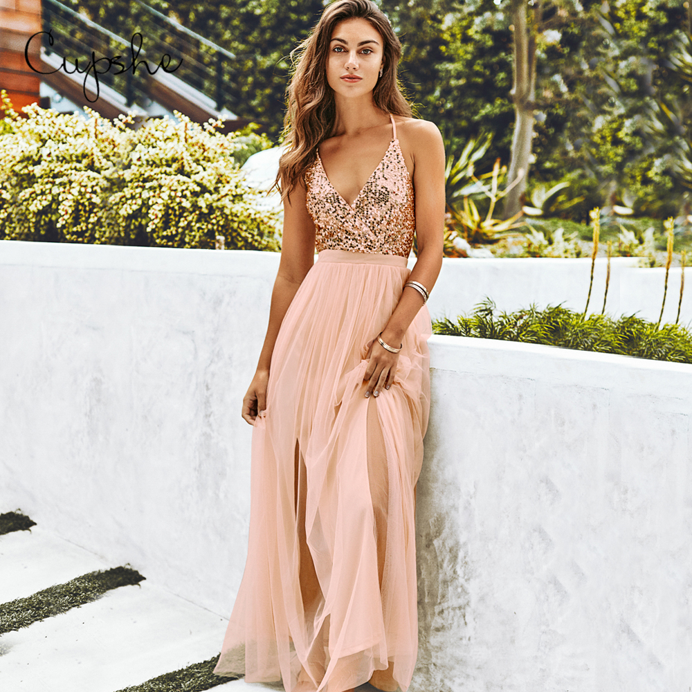 CUPSHE Sequined Tulle Dress Woman Sexy V-neck Backless Sleeveless Long Maxi Dresses 2019 Summer Party Club Vestidos