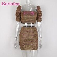 Karlofea Nieuwe Sparkle Crop Top Shirts Ruches Mini Rok Vrouwen Sets Mooie Tweedelige Bijpassende Pak Outfits Elegante Club Party dragen
