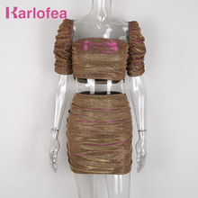 Karlofea Новый Блестящий короткий топ рубашки мини юбка с рюшами женские комплекты красивый костюм из двух предметов элегантная Клубная одежда для вечеринки