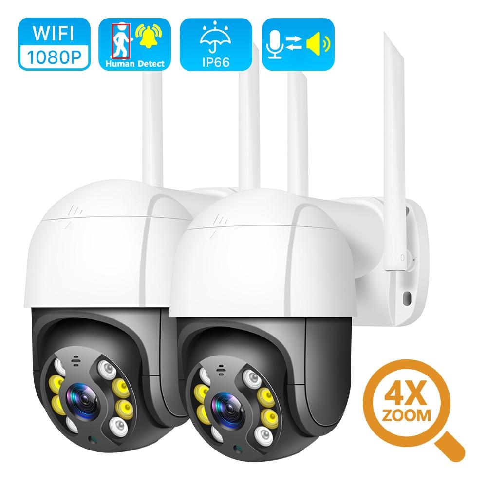 Cámara IP inalámbrica PTZ de 1080P, para exteriores, resistente al agua, Zoom Digital 4X, cámara de seguridad CCTV de 2MP con WiFi, detección de Audio humano IA BESDER, 1080P, FHD, Mini cámara WiFi con detección de forma humana IA, cámara IP impermeable, Audio bidireccional, visión nocturna IR, CCTV, vigilancia