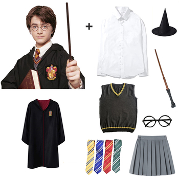 Anime Potter Cosplay Costume Magic Robe Cape Cloak Suit Tie Scarf Wand Glasses Accessories Clothes For Adult Kids