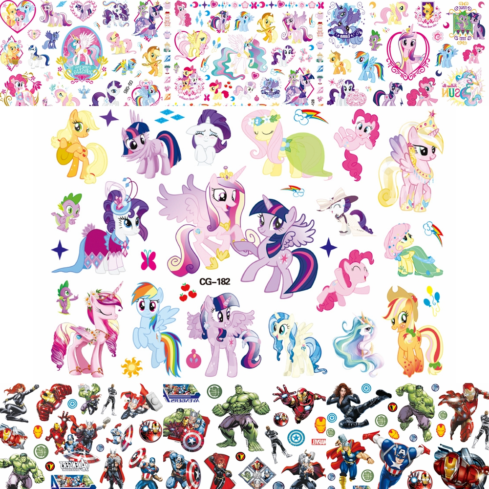 Watercolor Cartoon Unicorn Temporary Tattoo Sticker For Boys Girls Tatoo Decals Little Pony Hero Body Art Fake Tattoos Kids Gift