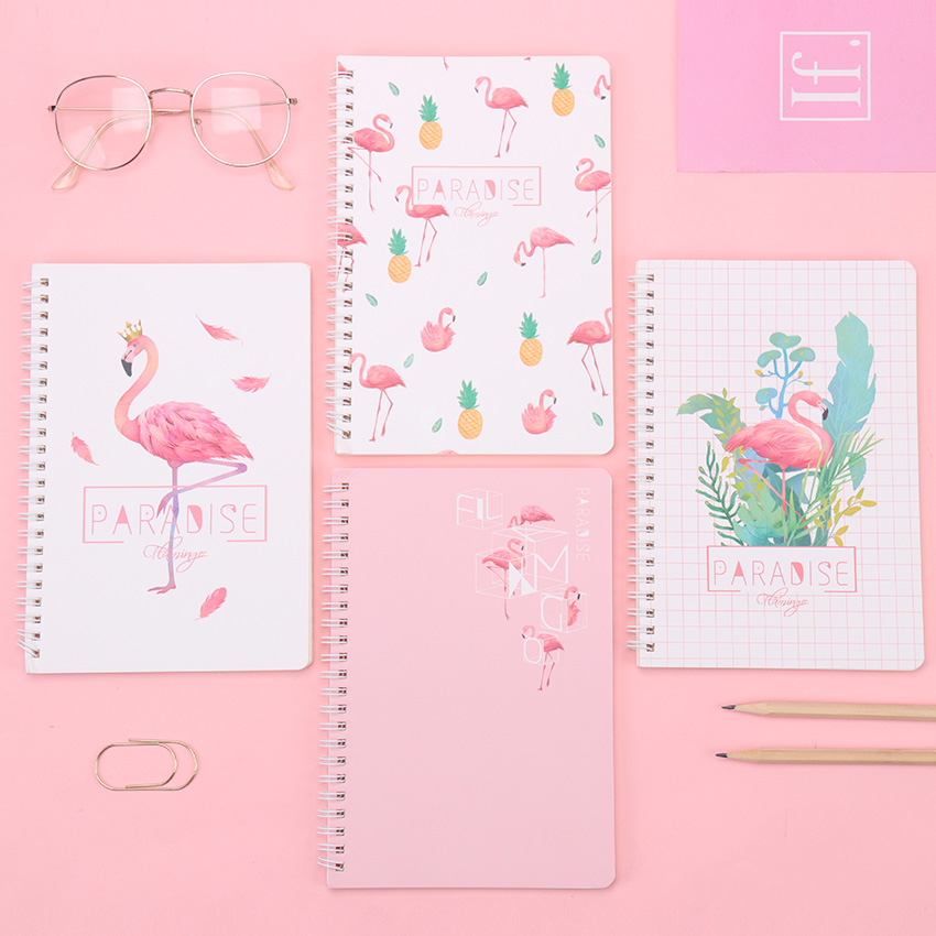 1PC Creative Stationery Flamingo Notepad A5 Notebook Small Fresh Coils This Hand Ledger Student Supplies 120 Pages
