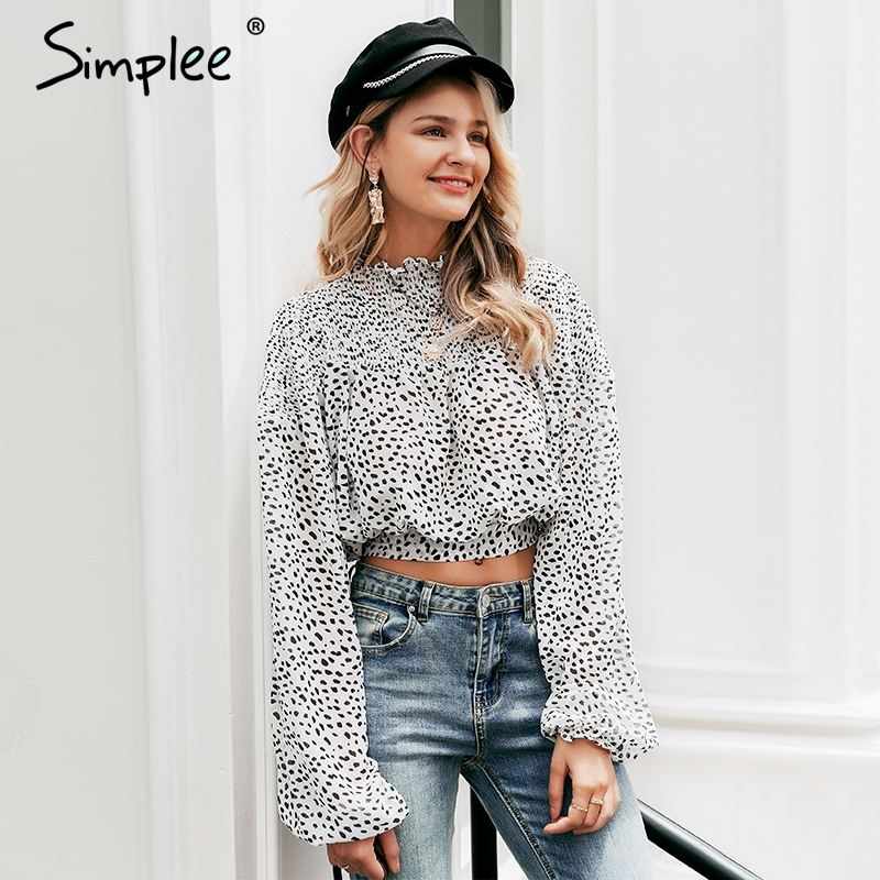 Simplee Sweet Dot Long Sleeve Women Blouses Elegant  Lace Up Chiffon Crop Top Autumn Winter Pullover  Blouse Shirt 2019