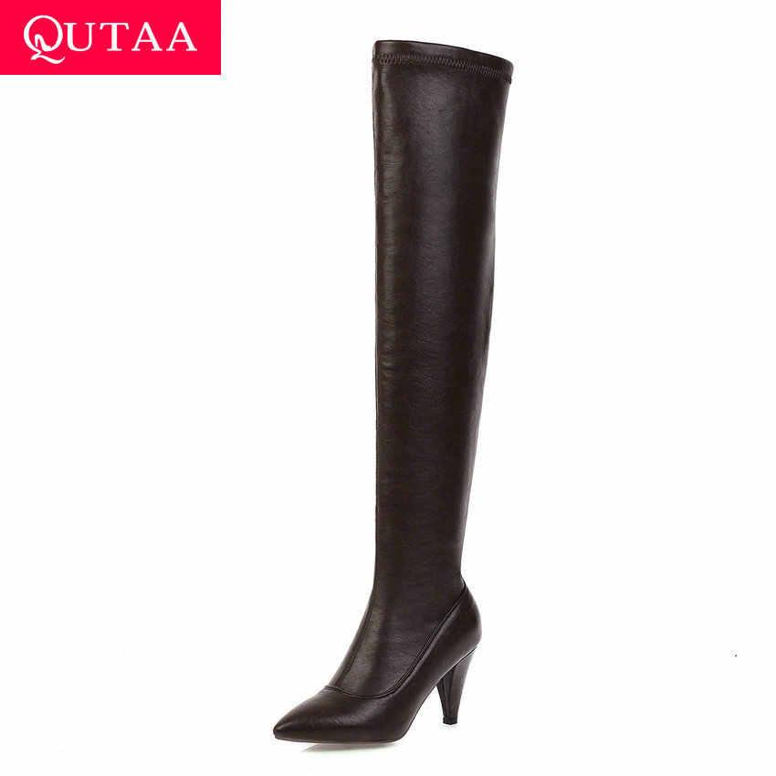 QUTAA 2020 seksi sivri burun uzun çizmeler PU deri kayma üzerinde diz çizmeler Spike topuk sonbahar kış kadın ayakkabı boyutu 34-43