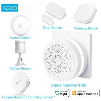 Xiaomi Aqara Smart Home Kits Gateway 3 Aqara Hub Door Window Sensor Human Body Wall Switch Water Sensor Relay Module For MI Home