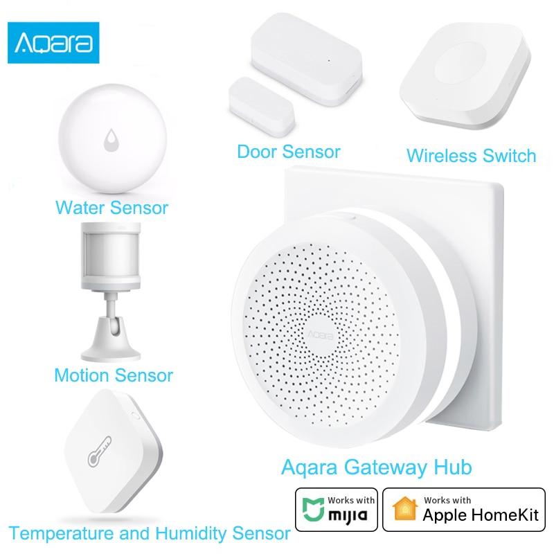 Aqara Smart Home Kits Aqara Hub Door Window Sensor Human Body Wall Switch Humidity Water Sensor Two-way Module Work With Mi Home
