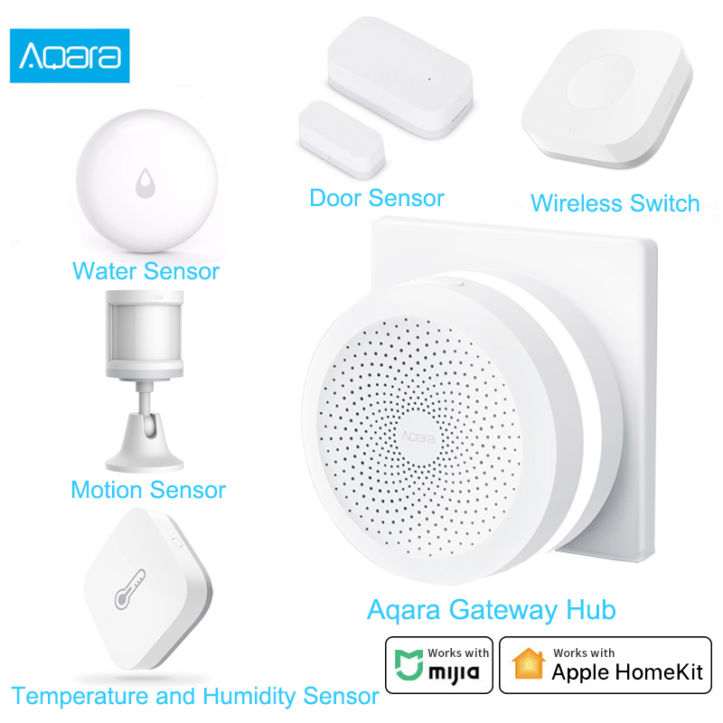 Aqara Smart Home Kits Aqara Hub Door Window Sensor Human Body Wall Switch Humidity Water Sensor Two-way module Work With Mi home(China)