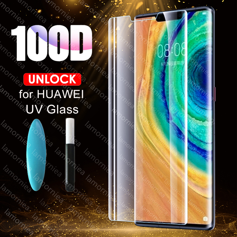 100D UV Full Glue Sceen <font><b>Protector</b></font> For P Smart Plus 2019 P Smart Z Liquid UV Tempered <font><b>Glass</b></font> For <font><b>Huawei</b></font> mate 20 30 P20 <font><b>P30</b></font> <font><b>Pro</b></font> 5G image