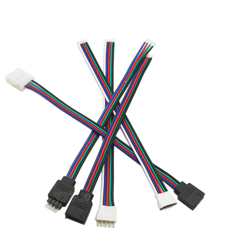 5pcs <font><b>4pin</b></font> 5Pin LED <font><b>Cable</b></font> Male Female Connector Adapter Wire For 5050 3528 SMD RGB RGBW led strip light RGB RGBW LED Controller image