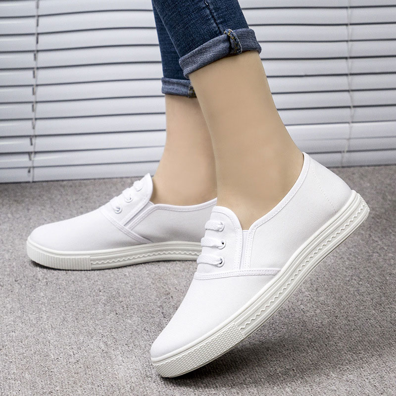 Canvas Shoes Women New Fashion Lace Up Casual Shoes Women's Vulcanize Shoes Woman Spring Comfortable Ladies Flat White Shoes