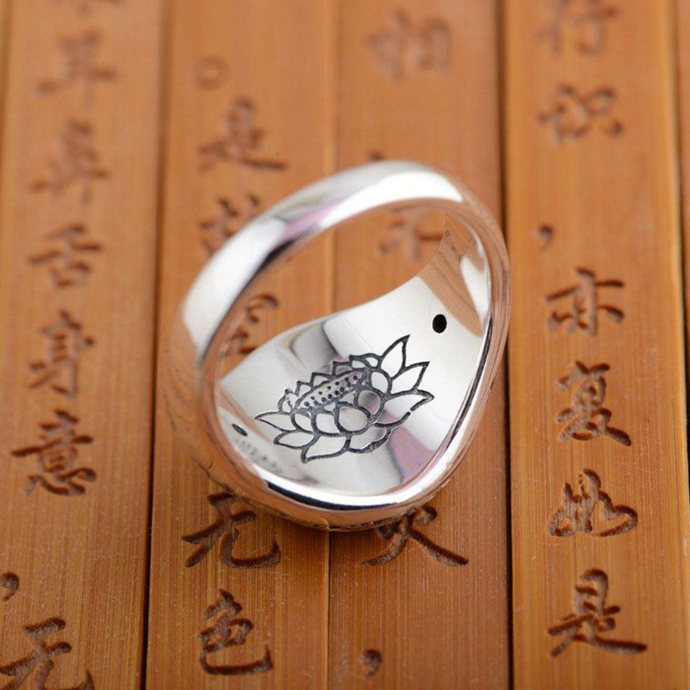 Image 5 - Real Solid 925 Sterling Silver Jewelry Vintage Buddha Six Words Mantra Rings For Women And Men Bijouterie Finemantra ringrings for womenring for -