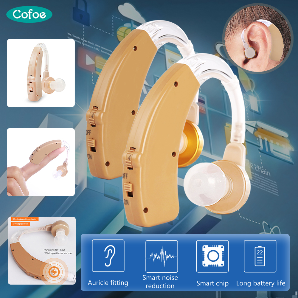 Cofoe Hearing Aid Rechargeable Hearing Aids Mini BTE Invisible USB Ear Aid Sound Amplifier For The Elderly Hearing Loss Device