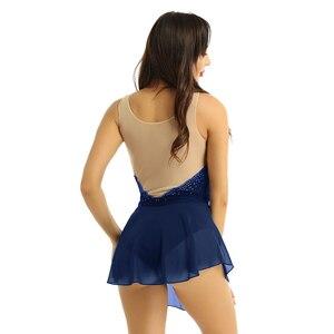 Image 4 - IEFiEL Frauen Erwachsene Tanzen Kostüme Mesh Splice Mieder mit Glänzenden Strass Eiskunstlauf Dancewear Gymnastik Trikot Kleid