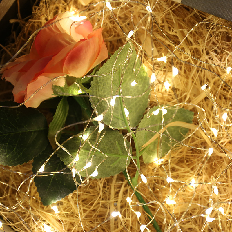1M Wire LED String Lights Battery Operated Lamp Fairy Garland For Wedding Party Decoration LED String Lights Valentines Day Gift