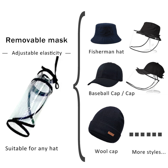Outdoor Detachable Rope Transparent Safe Clear Mask Cap Anti Smog Splash Saliva Windproof Removable Safety Full Face Shield Mask 2