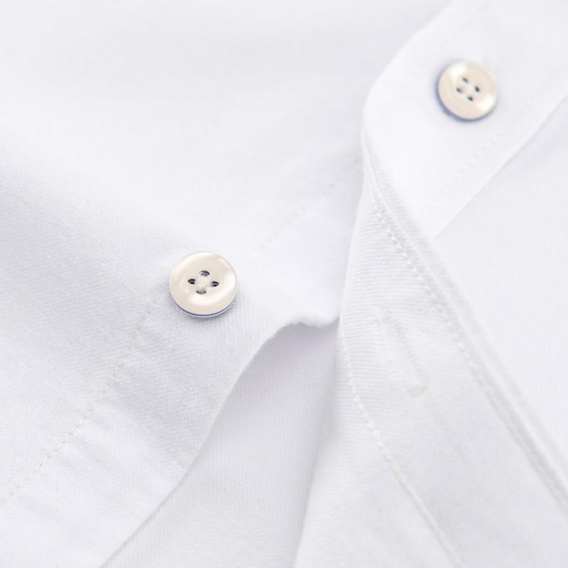 Image 5 - メンズ正規フィット長袖固体オックスフォードコットンシャツ単一のパッチポケット丸いバレル袖口厚いカジュアルボタンダウンシャツカジュアル シャツ   -