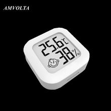 Amvolta termômetro digital higrômetro indoor mini medidor de umidade temperatura lcd monitor eletrônico sorriso rosto