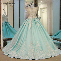 LS21700 New ball gown evening dresses lace up back back short sleeves lace formal evening gowns dresses light green real photos