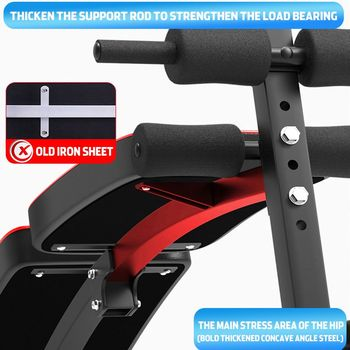 Home Multifunction Folding Sit up Bench Pulling Rope Exerciser Trainer Steel Frame Ab Abdominal Benches