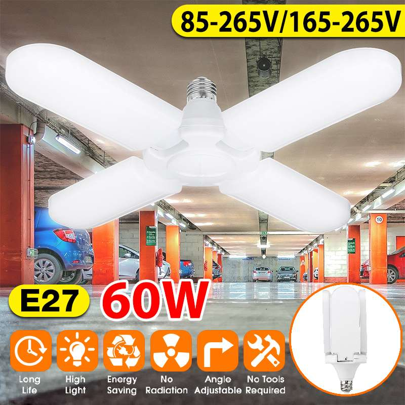 60W/75W Foldable Fan Blade LED Pendant Light E27 85-265V 360 Degrees Angle Adjustable Ceiling Lamp Garage Light For Workshop