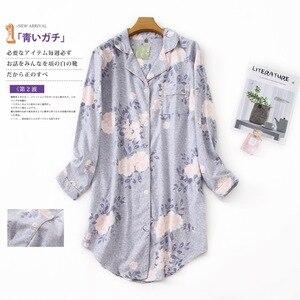 Image 5 - בתוספת גודל סתיו כותונות נשים כותנות לילה הלבשת חורף sleepshirts 100% מוברש כותנה טרי נשים לילה שמלה