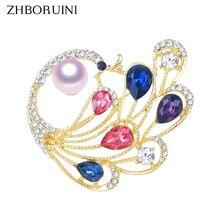 ZHBORUINI, Высококачественная брошь с натуральным пресноводным жемчугом, жемчугом, павлином, брошь, перо золотистого цвета, жемчужные украшения для женщин, подарок
