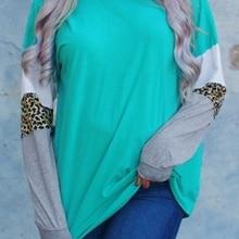 Женская леопардовая комбинированная красивая блузка с длинным рукавом осень зима femme Harajuku Ulzzang женские топы Корейская одежда