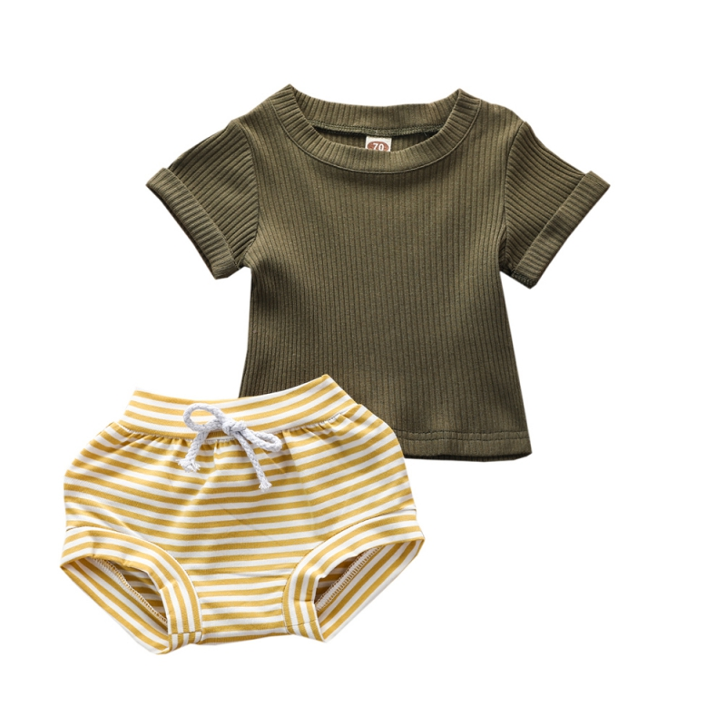 New Summer Baby Short Sleeve For Clothing Boys And Girls Cotton Stripe Shorts  Suit For Children Two Clothes Sets For Babies