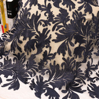 Three dimensional plant leaves chiffon embroidery fabric dress dress dress decoration package lace flower mesh embroidery