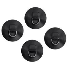 Marine Durable 4 Pieces D-Ring Pad Patch For Inflatable Boat Raft Dinghy Kayak Black Dinghy Surfboard Replacement Accessories new durable inflatable boat transom launching wheel for inflatable dinghy yacht tender raft rowing boats accessories