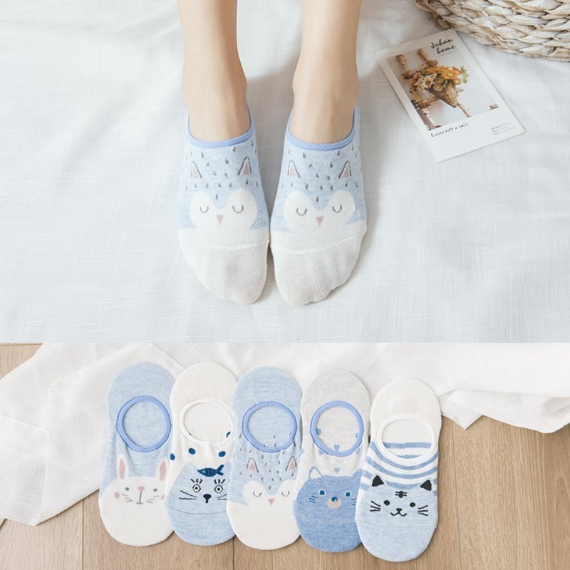 Colorful Fruit Invisible Short Woman Sweat Summer Comfortable Cotton Girl Women's Boat Socks Ankle Low Female 5pair=10pcs XG37