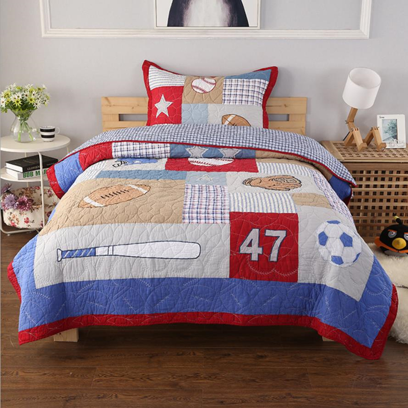 Patchwork Sport, Twin Golden Quality Bedding Kids Sheet and Pillowcase Set