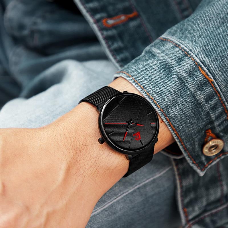 reloj hombre 2021 Fashion Watches Men Classic Black Ultra Thin Stainless Steel Mesh Belt Quartz Wrist Watch relogio masculino 6