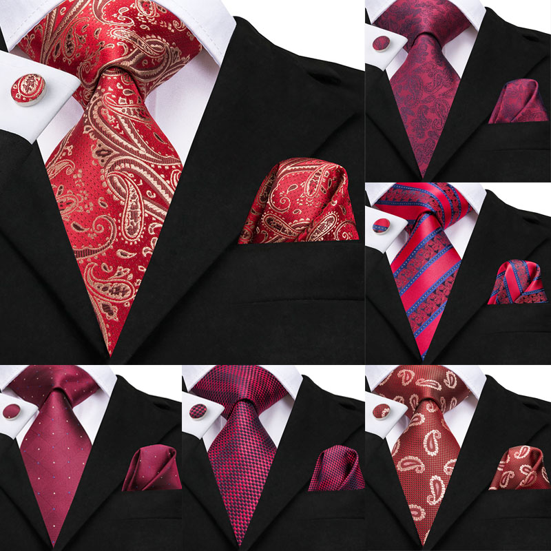 Hi-Tie Wedding Ties For Men Red Paisley Tie Set Silk Cravate Luxury Gold Neck Tie Pocket Square Cufflinks Detachable Collar
