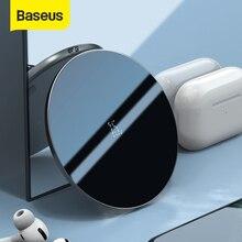 Baseus 15W Qi hızlı kablosuz şarj aleti pedi Pods podları satin Pro cam Panel ince görünür kablosuz telefon şarj aleti için iPhone11 X Xs Max