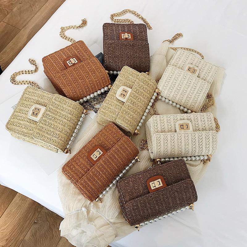 New Summer Beach Straw Bag Crossbody Bags For Women 2019 Pearl Woven Rattan Women Shoulder Bag Ladies HandBag Clutch Bolso Mujer